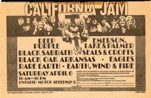 "#Efemérides #LaCueva 6 de abril de 1974. Se realiza el festival ""California Jam"". Hubo alrededor de 200.000 personas. Tocaron Rare Earth, Wind & Fire, Eagles, Seals & Crofts, Black Oak Arkansas, Black Sabbath, Deep Purple, Emerson Lake & Palmer.  #rock #music #musica #festivalpic.twitter.com/02naCXzUjK"