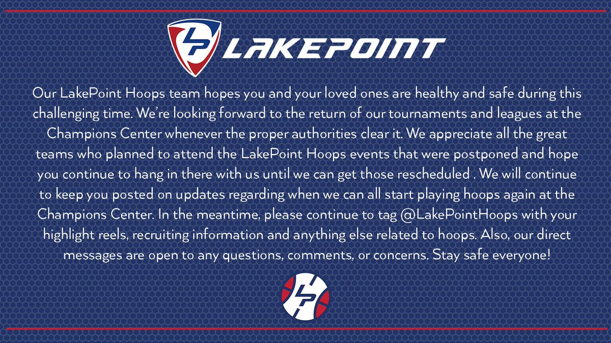 We hope everyone is staying safe and healthy. We can't wait to return to action at the Champions Center! #LakePointHoops #SocialDistancing https://t.co/EWQ6KrrxBz