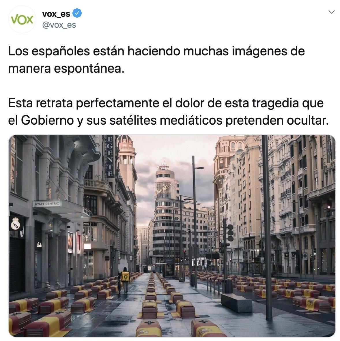 Vox roba una fotografía, la manipula para atacar al Gobierno e ignora al autor de la imagen original