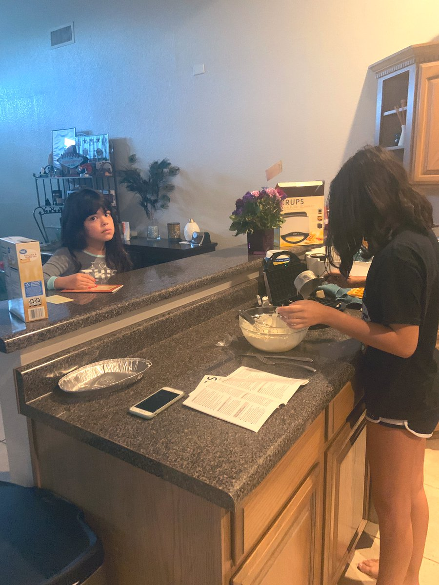 Home economics 🧇🍽on this Monday morning by my Kindergarten and Freshman daughters. #LifeLessons #Science