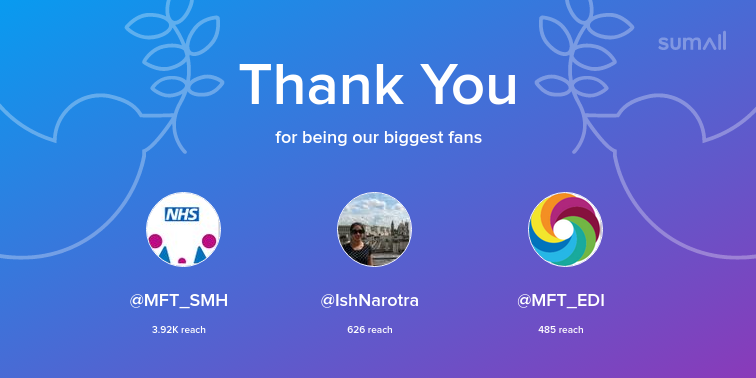 Our biggest fans this week: MFT_SMH, IshNarotra, MFT_EDI. Thank you! via sumall.com/thankyou?utm_s…