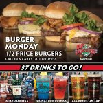 BURGER MONDAY & Drinks To-Go! Enjoy 1/2 Price Burgers ALL DAY! 🍔😁 Plus, our delicious Mixed Drinks, Signature Drinks, & On Tap Beers are available To-Go for $7! Call In & Carry Out from our Bellevue, Elkhorn, Millard, & Plattsmouth locations: https://t.co/duqkoKfqbC