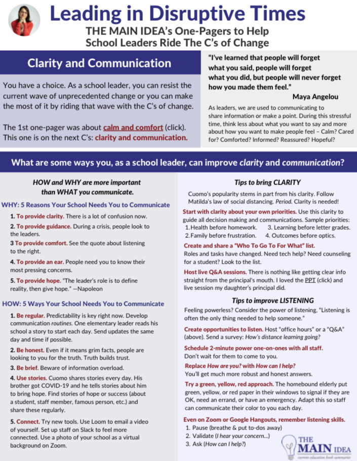 School leaders - Have you thought about how your communication is making your school community FEEL?    See my one-pager on Clarity & Communication for school leaders: https://t.co/y5hHH6XN9h https://t.co/NrK3fWh25n