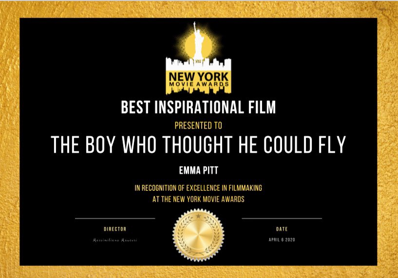 So proud that my short film The Boy Who Thought He Could Fly starring @shaneattwooll @jennarusselluk and Archie Sanders has won Best Inspirational Film and an Honorable Mention for Shane as Best Actor at the monthly New York Movie Awards!❤️#shortfilm #amwriting