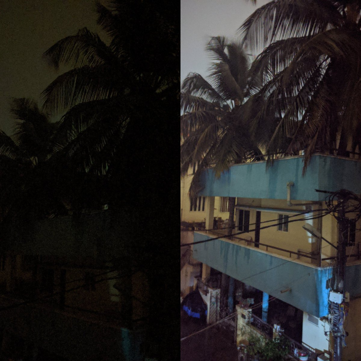 Without and with #pixelNightSight WOW 🤯 Both pics have been taken @  8.43pm 🌠 #Google #Pixel2