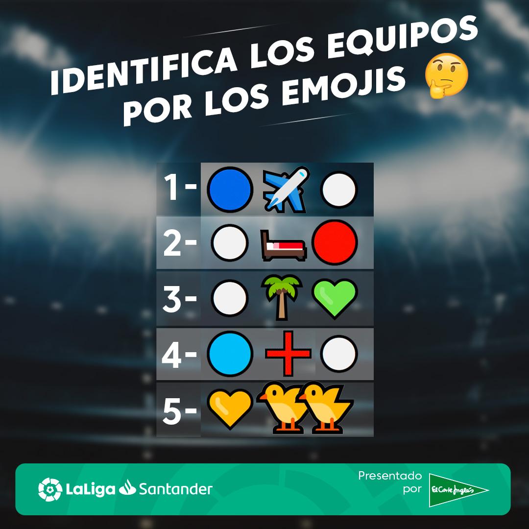 🤔 Te damos los emojis. y tú tienes que acertar los equipos de #LaLiga.  🤝 ¿Aceptas el RETO?  #ElCorteInglés  #QuédateEnCasa