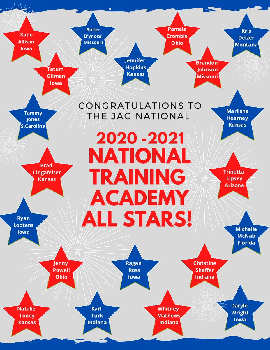 """Congratulations to the 20 Specialists and Managers that were selected into the JAG National Trainer Academy.   The National Network is in for a """"shot of enthusiasm"""" with these ALL-STARS leading the way!  Get READY, JAG Family! #JAGfam"""
