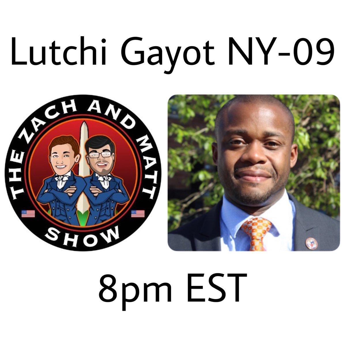 Tune in tonight at 8pm EST for my interview on @ZachandMattShow