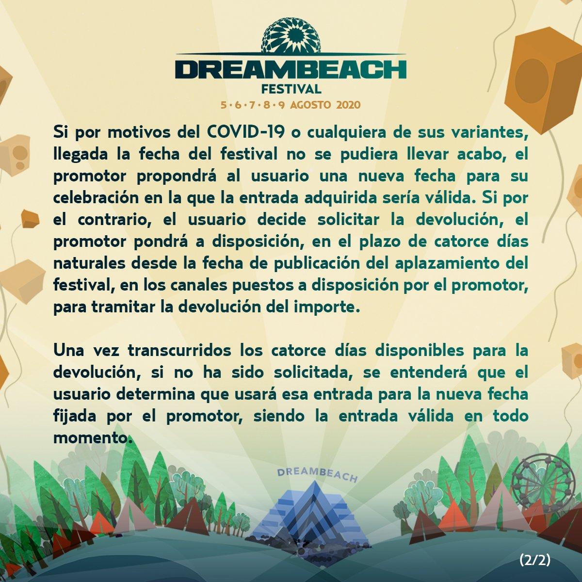 """Dreambeach Festival on Twitter: """"ℹ️ Comunicado oficial en relación al  Covid-19.  #Dreambeach y todo su equipo sigue trabajando para la  realización del mismo, en tiempo y forma.  Lee atentamente, y"""