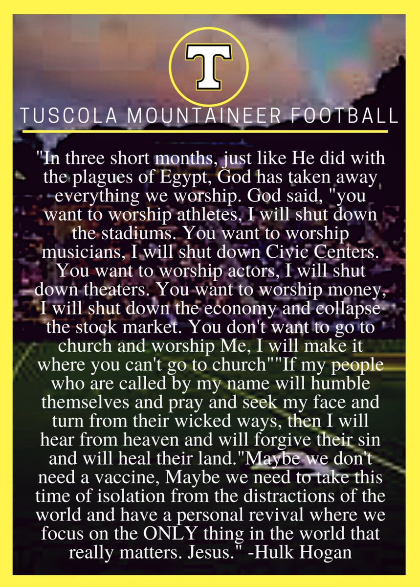 Just a little food for thought!! It is easy to get caught up in the wrong things. Always keep your eyes on the Jesus!   #GoMountaineers  #FoodForThought  #WinTheDay  pic.twitter.com/0NoQucbH3R