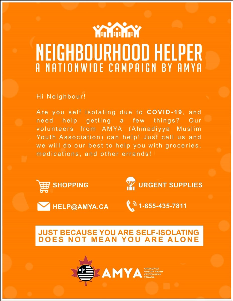 Ahmadiyya muslim youth association #neighbourhoodhelper campaign. If you or your loved one needs assistance with grocery or prescription refills our volunteers are willing and happy to help out.  #COVIDCanada  @CBCNews Please contact us. You are not alone we are here to helppic.twitter.com/A99MZtQ6wT