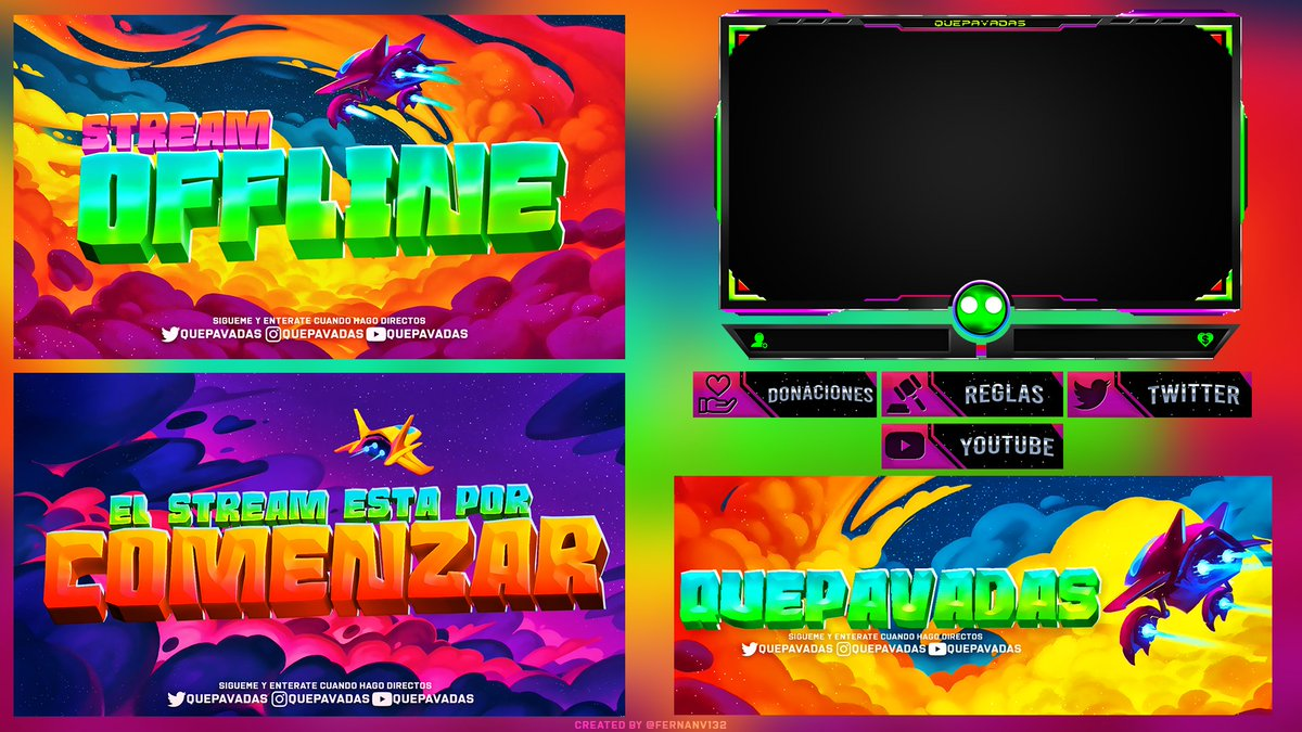 // StreamPack for @QuePavadas // Retweet & follow me if you want to see more like this! ✍️ You can see all my works here: behance.net/fernanv132