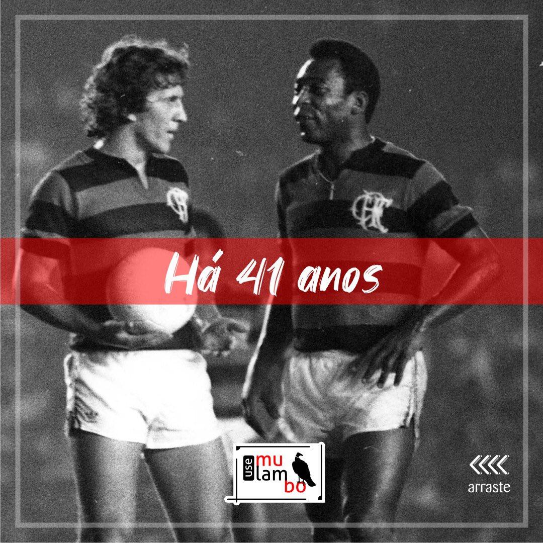 Há 41 anos, Pelé tinha o privilégio de vestir o #MantoSagrado no Maracanã e jogar ao lado do #ReiZico  e companhia.   150 mil súditos Rubro-Negros, foram reverenciar seu único Rei!  #UseMulambo #MulamboComMuitoOrgulhopic.twitter.com/F3yJ8gVCUV