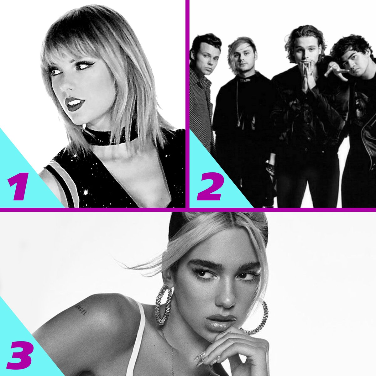 Here's Monday's #RDTop3! 1. @taylorswift13 - #TheMan 2. @5SOS - #OldMe 3. @DUALIPA - #BreakMyHeart<br>http://pic.twitter.com/w84iEuGcVd