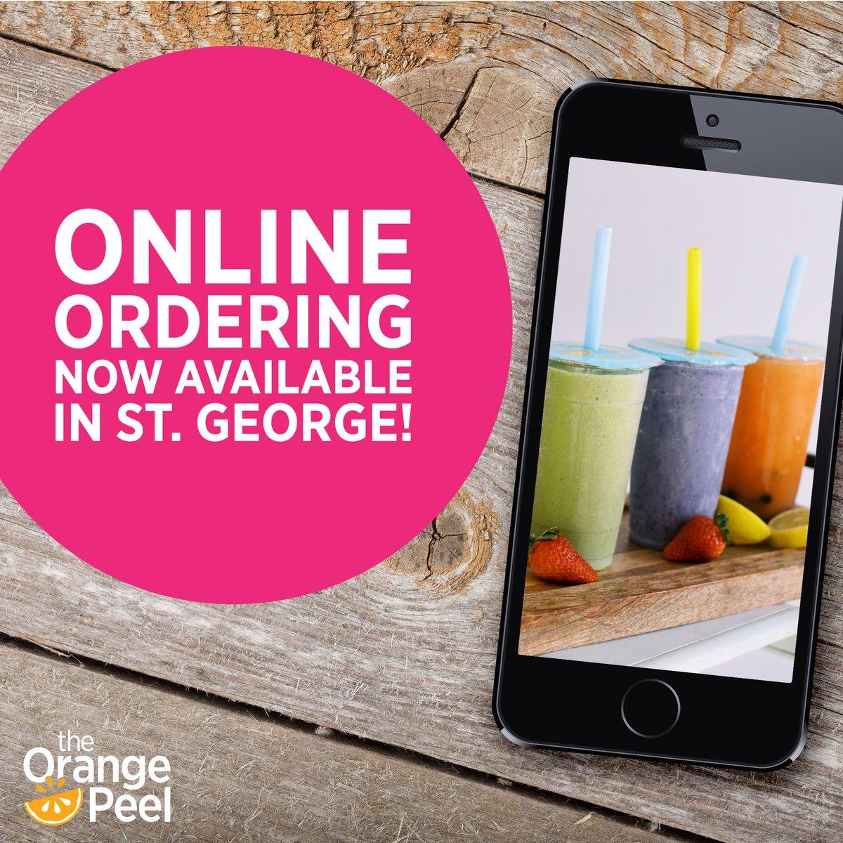Online ordering now available for the St. George location! https://theorangepeel.biz/ #theorangepeel #stgeorgeutah #southernutah #smoothiespic.twitter.com/OcAOr6dcye