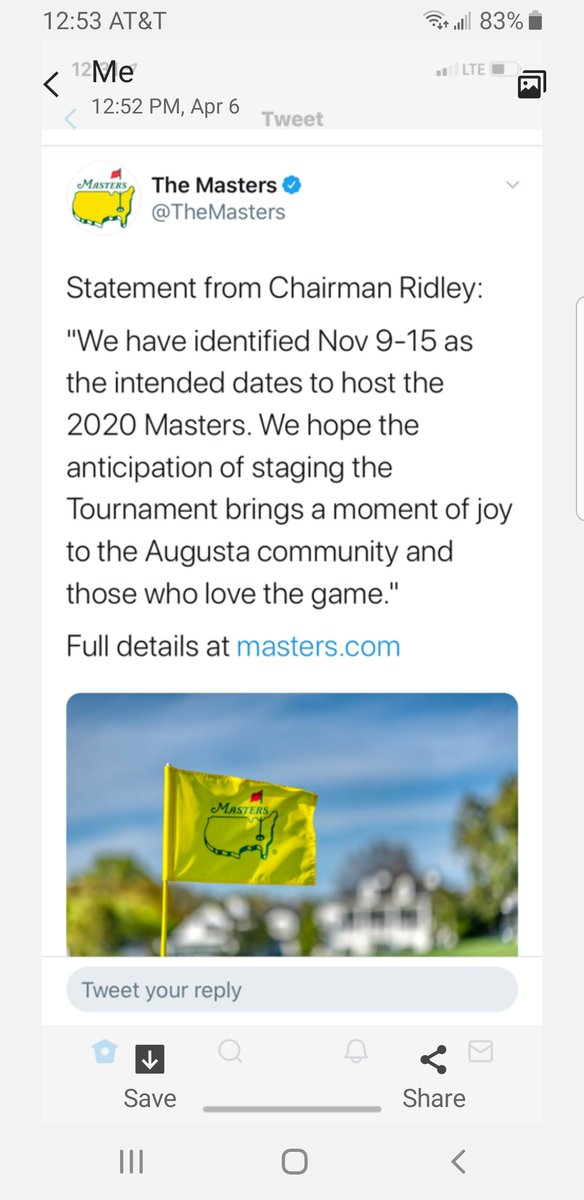 Great news!!! The guys that run the Masters don't care about anything and will always find a way! The Masters may be the only major sport event to play to a conclusion in 2020 IMO. pic.twitter.com/dj9iU50Ccy