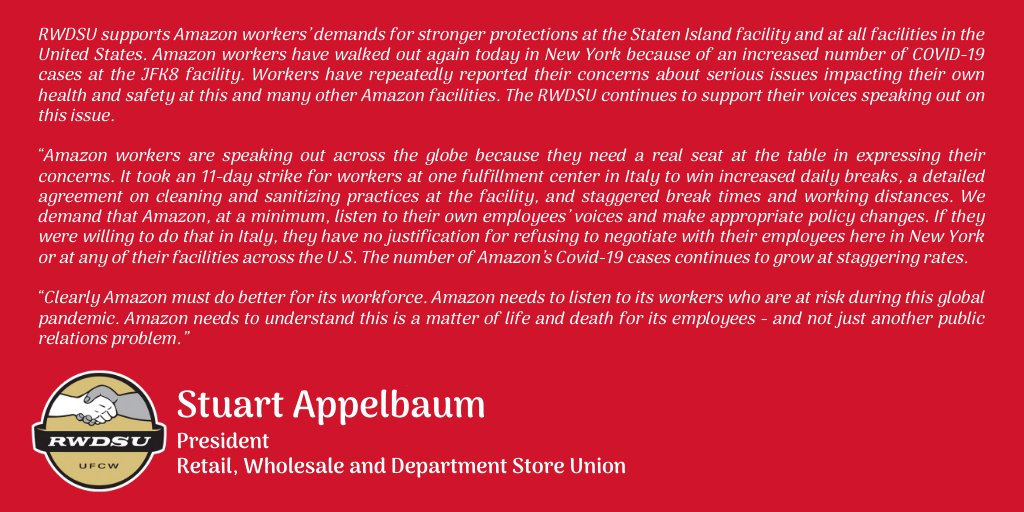 RWDSU President @sappelbaum statement in support of the Amazon workers walking out today in Staten Island, New York, at @Amazon's JFK8 fulfillment center.  Read more on the RWDSU website: https://www.rwdsu.info/_amazon_statement_from_rwdsu_president_stuart_appelbaum…pic.twitter.com/BM46aWX7TZ