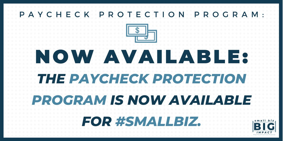 REMINDER: Right now, small businesses can apply for new loans through the #PaycheckProtectionProgram.   These @SBAgov forgivable loans will help #smallbiz keep employees on payroll and provide vital cash-flow assistance as we combat #coronavirus.