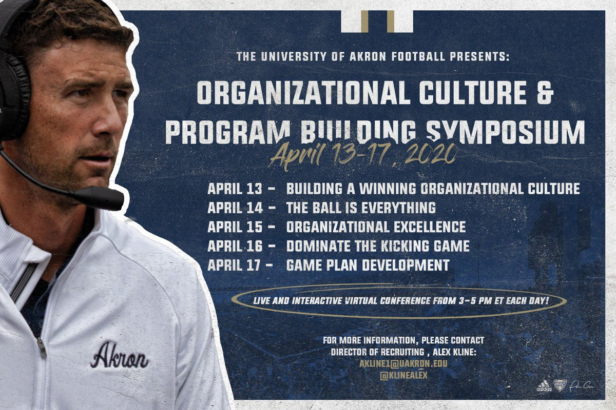CALLING ALL HS COACHES  Join Head Coach Tom Arth NEXT WEEK, starting on Monday for a week-long Organizational Culture & Program Building Symposium  Contact our Director of Recruiting @KlineAlex for more details   #OurWay pic.twitter.com/WLFTeREcVn