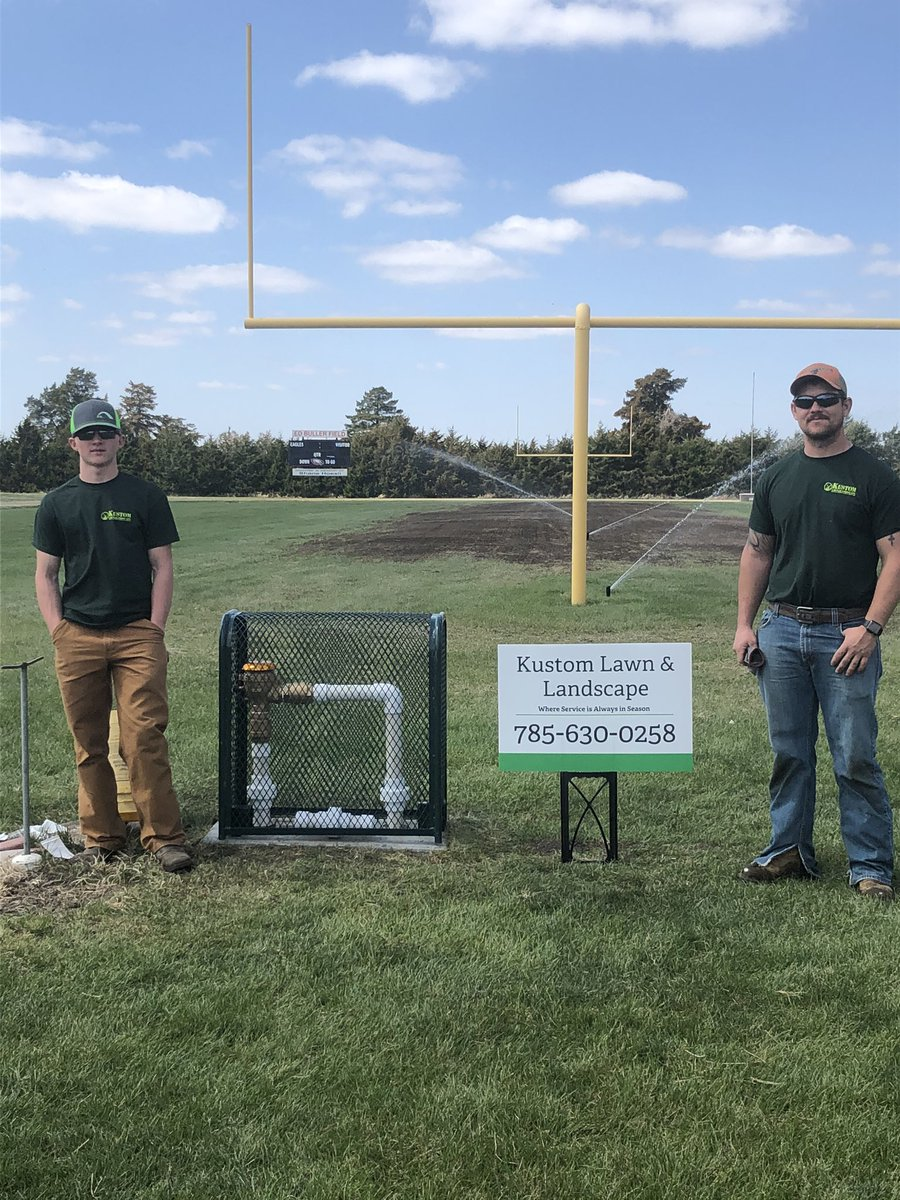 New seed is in and the underground sprinkler system is up and going. Project done by Kustom Lawn & Landscape of Clifton. Pretty cool that all employees and owner are former Clifton-Clyde Eagle Football players. #Family pic.twitter.com/oxAAZ4SdTl