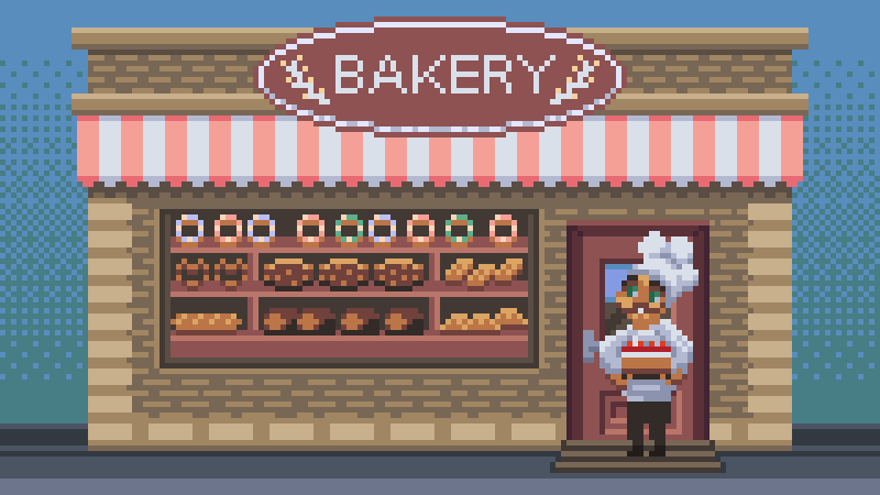 #baker with a cake in his #bakery  @Pixel_Dailies  #dailyart #pixelart #asepritepic.twitter.com/JVd48uVwxT