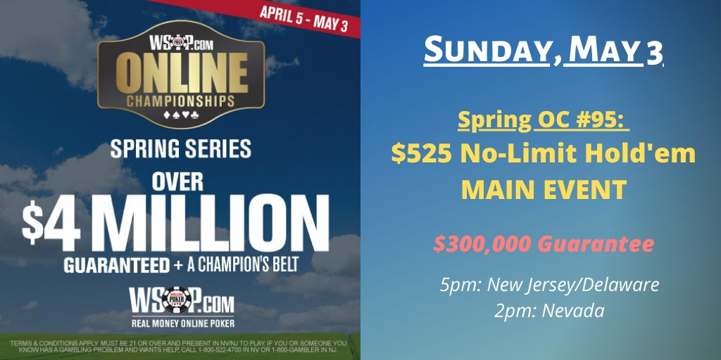 The @WSOPcom Spring Online Championships $525 Main Event ($300,000 gtd.) starts in one hour.