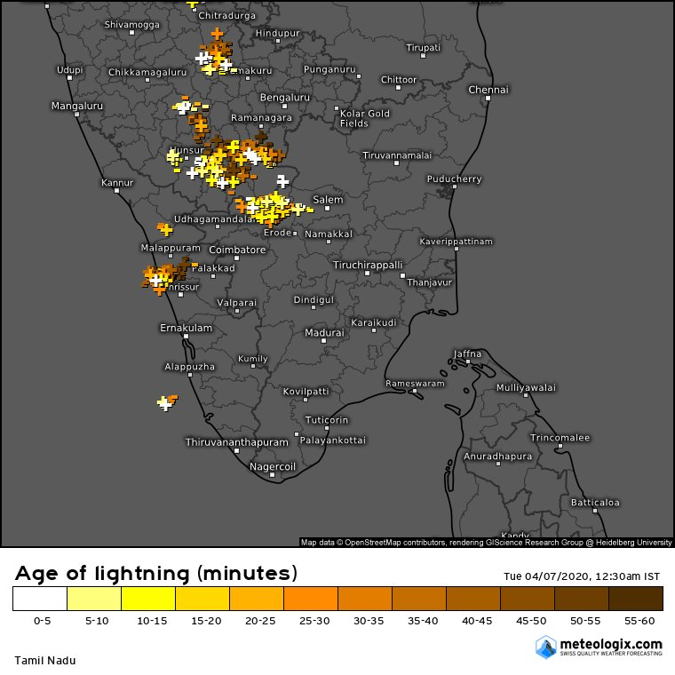 Moderate to severe storms over parts of South Interior Karnataka and adjoining parts of Tamilnadu  #Mysore city seeing  thunderstorms  accompanied with gusty winds with intensity varying from moderate to heavy for the past 1 hourpic.twitter.com/5iRd9wcVfx