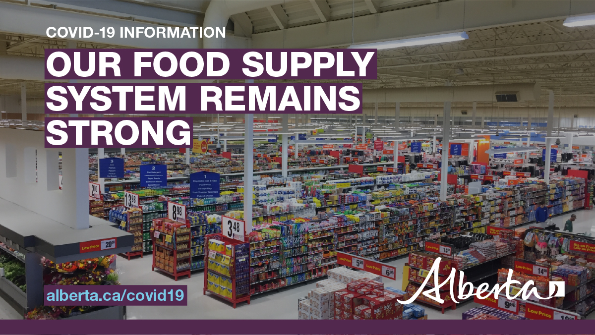 Only buy what you need for a week. Stockpiling creates additional unnecessary pressure on the food supply chain. We are working with industry to ensure our food supply system remains strong: https://www.alberta.ca/release.cfm?xID=69926EE5B4903-A9C3-5379-F0632EA42528DDAB… #COVID19AB