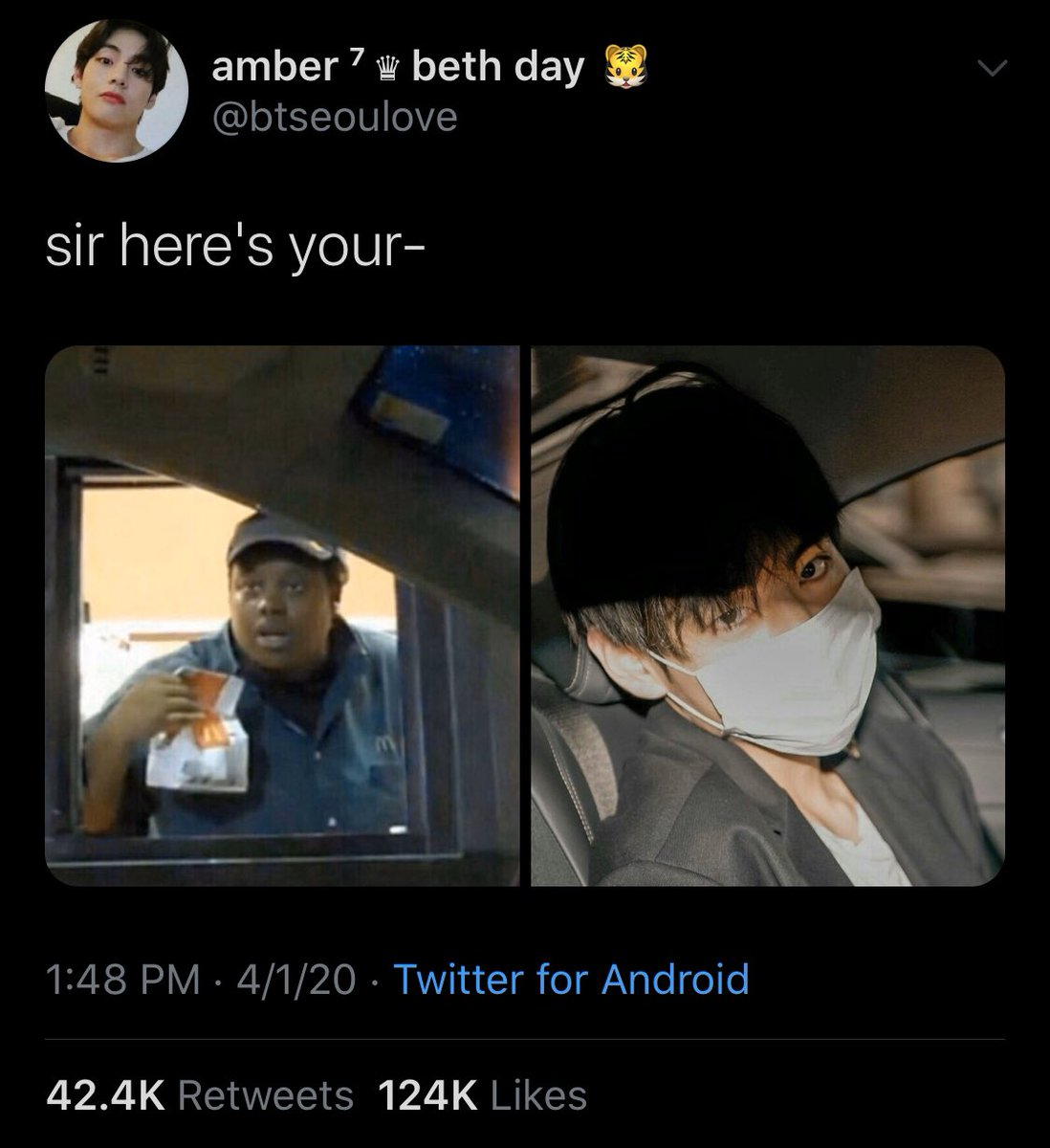 I just know jungkook saw this tweet that blew up so that's why he took a selfie in the car pic.twitter.com/4wdnRat0Na