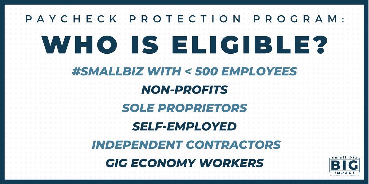 The #PaycheckProtectionProgram is an inclusive program for more than just traditional small businesses. Non-profits, veterans groups, the self-employed, and independent contractors may all be eligible if they meet @SBAgov requirements. Check out more here: