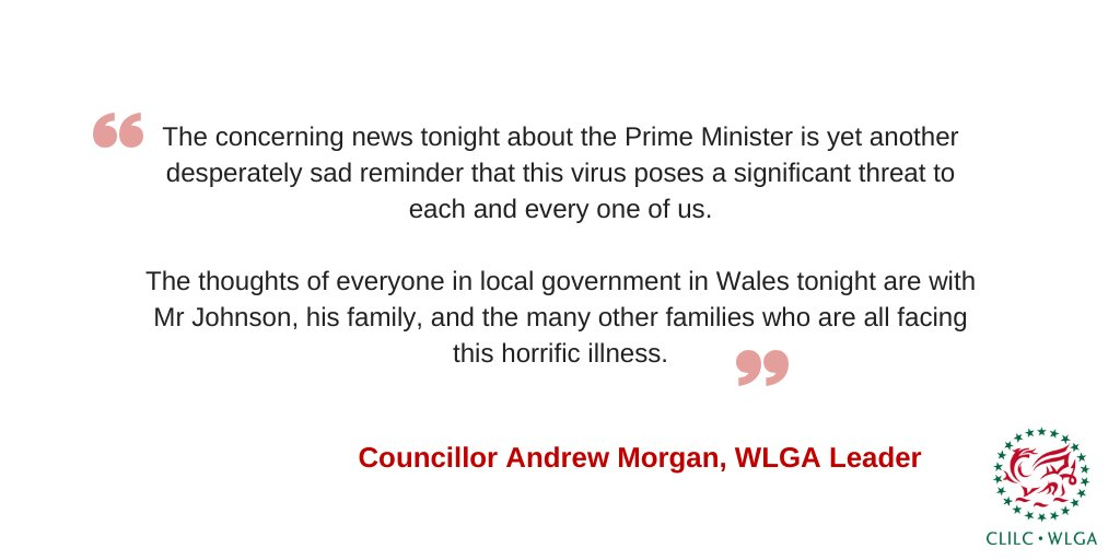 The thoughts of local government in Wales tonight are with @BorisJohnson and his family