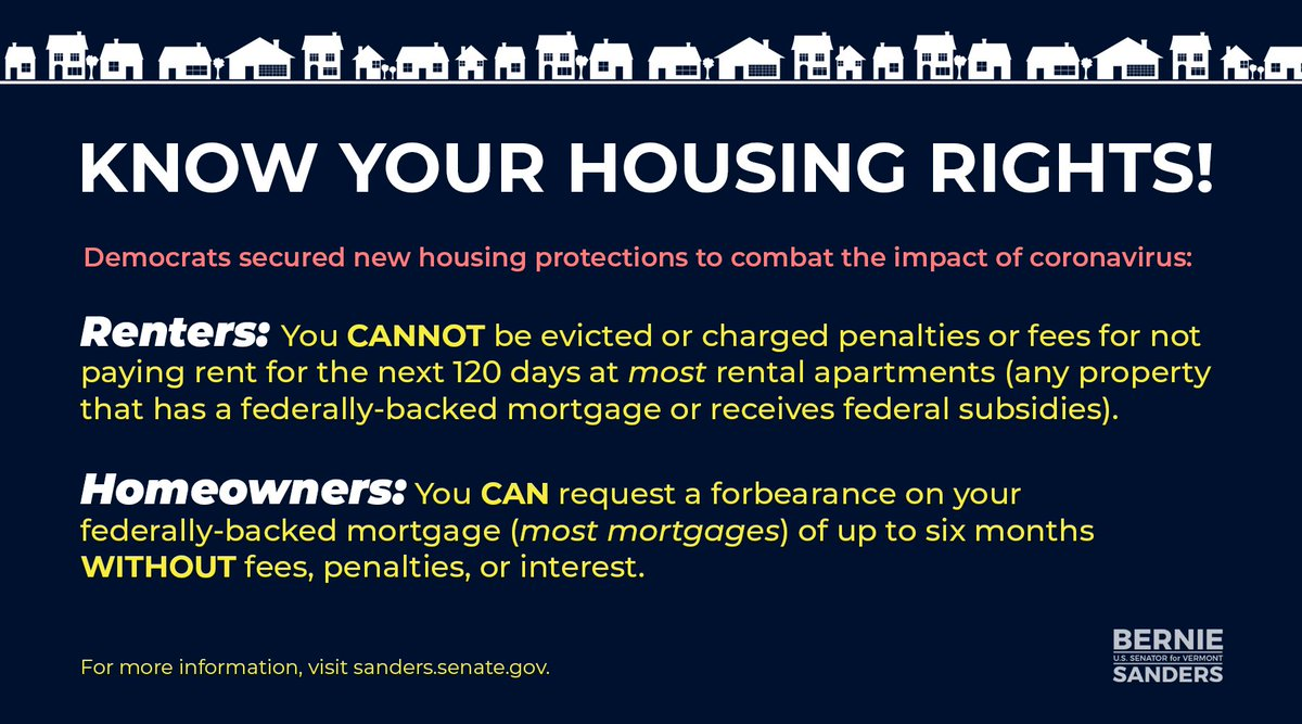 During this pandemic, know your rights!  For mostrenters, you cannot be evicted or charged penalties for not paying rent.  For most homeowners, you can request a forbearance on your mortgage.