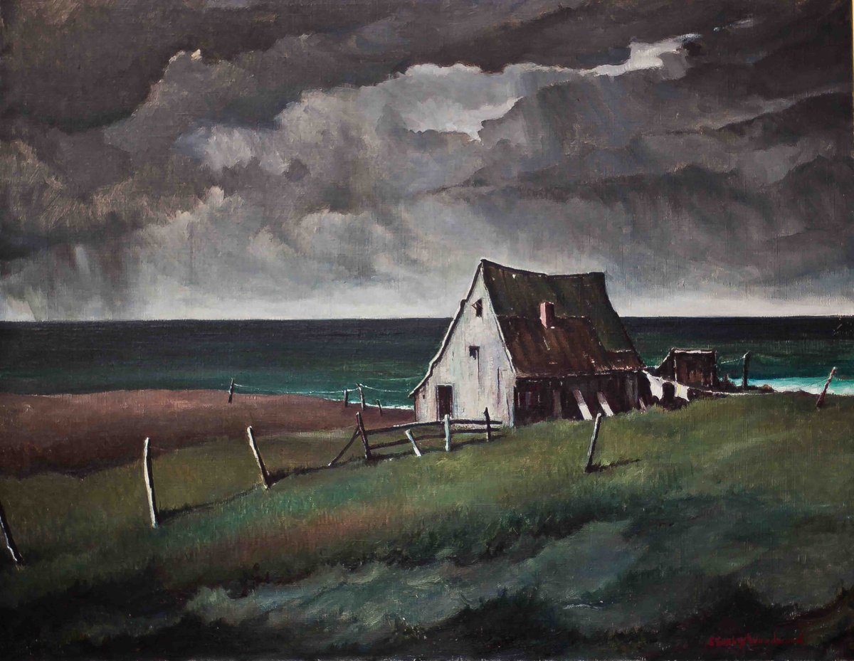 Mondays at the Museum:  Storm over Lanesville [Gloucester, MA].  Malden artist Stanley W. Woodward (1890-1970) was recognized for his marines and seascapes. He was an illustrator for Collier's and Ford Times magazines.  From the Malden Public Library Art Collection. pic.twitter.com/5RYqoPO0UP