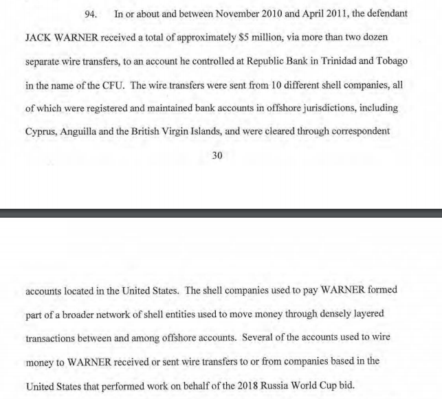 Explosive new FIFA World Cup bribes story - US indictment states Jack Warner received $5m from Russia + the 3 South American FIFA members received bribes to vote for Qatar