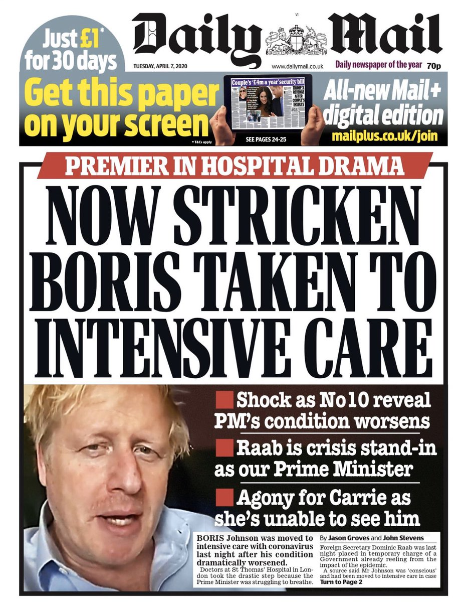 Boris struggling today breathe unaided says Daily Mail