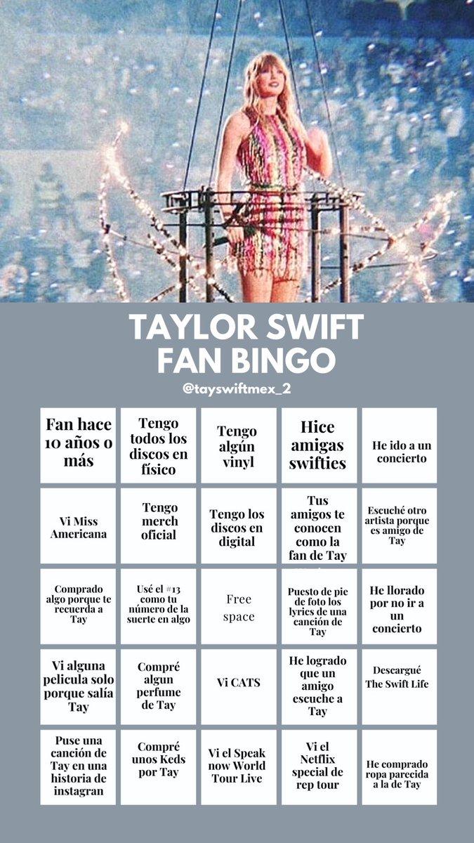 Swifties 💜 les hicimos esta plantilla de bingo para que se entretengan estos días. ¡Dejen su resultado aquí abajo! ✨ #SwiftiesActivitiesAtHome