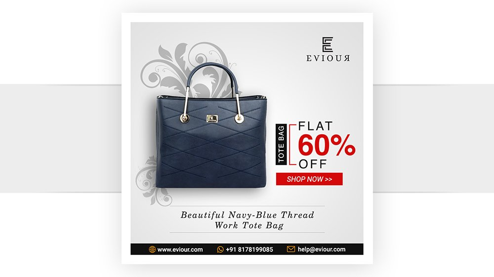 Beautiful Navy-Blue Thread Work Tote Bag  At Just INR 1,799/-  LIMITEDSTOCKLIMITEDSTOCKLIMITEDSTOCK  Buy now at:https://bit.ly/2JHGTIv  Order now on Whatsapp: +91 8178199085 | Email:help@eviour.com  #womenfashion#fashionaccessories#trendybagspic.twitter.com/2qwSuUHkBu