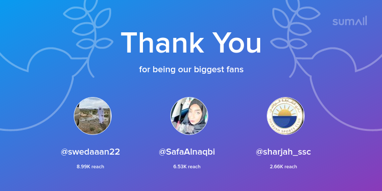 Our biggest fans this week: swedaaan22, SafaAlnaqbi, sharjah_ssc. Thank you! via https://sumall.com/thankyou?utm_source=twitter&utm_medium=publishing&utm_campaign=thank_you_tweet&utm_content=text_and_media&utm_term=c466fc4c64abdee246a27552 …pic.twitter.com/uMglUs2GgB