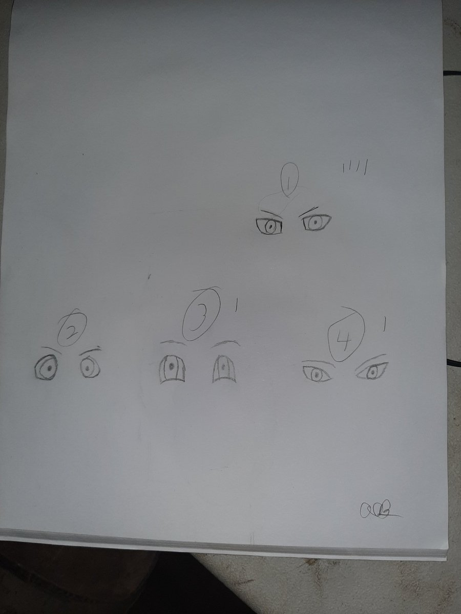 I made 4 sets of eyes. People give me your opinion. 1-4 the marks are family memeber votes. #art #eyes pic.twitter.com/QFC6RSqx1F