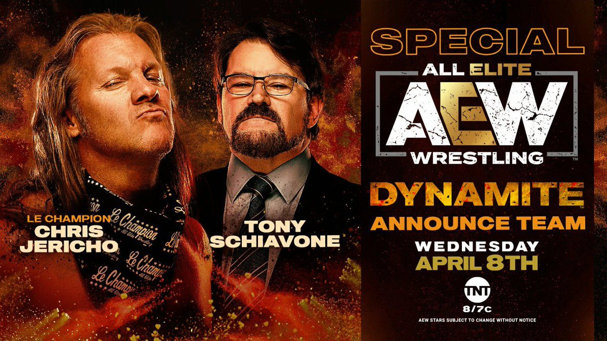 Chris Jericho @IAmJericho & @tonyschiavone24 have amazing charisma; I think they have the makings of one of the best commentary teams I've ever heard in 30 years as an obsessed wrestling fan. Jericho & Tony debut as a duo this Wednesday on an all-new #AEWDynamite at 8pm ET on TNT