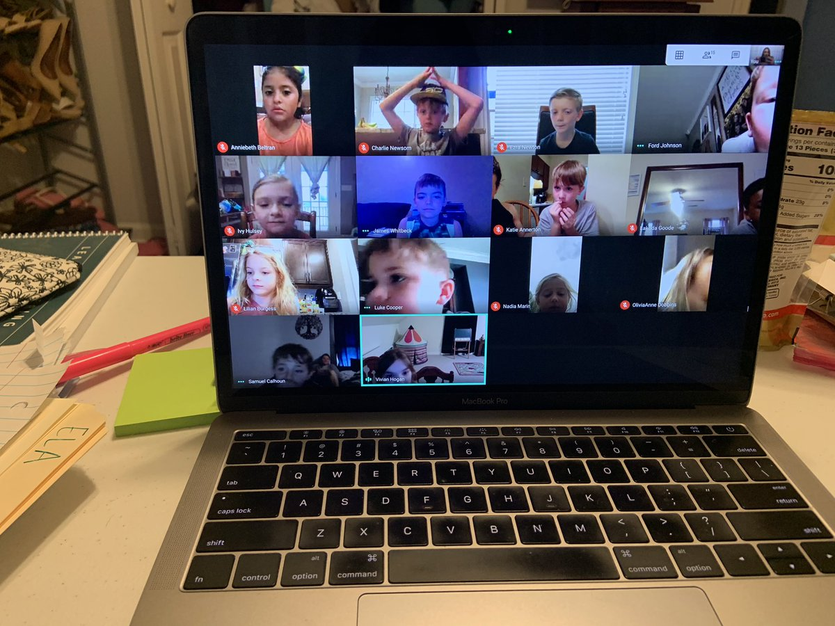 Can't stop smiling!!  I just met with 14 of my favorite firsties!! I'm so thankful for technology so that I can see their sweet faces! We might not be together in a classroom but we will always have our classroom community! @barkleybridge #MakeItCount pic.twitter.com/TyDu1drOfU