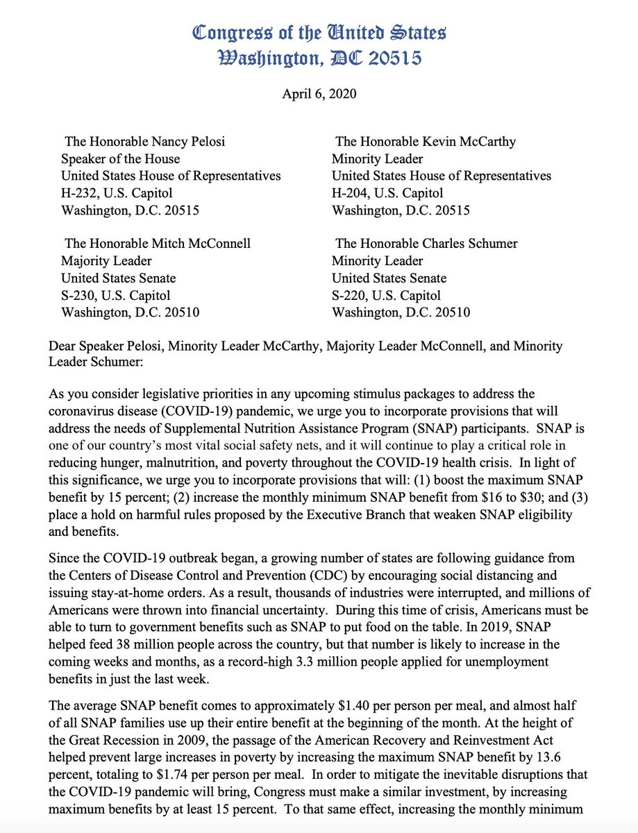 As unemployment surges, so will the number of families struggling w/ hunger & food insecurity.  Proud to lead this letter w/ @RepMarciaFudge, @RosaDeLauro & @RepPressley urging strong support of America's Supplemental Nutrition Assistance Program in any upcoming relief packages. https://t.co/udQ6hrcOAT