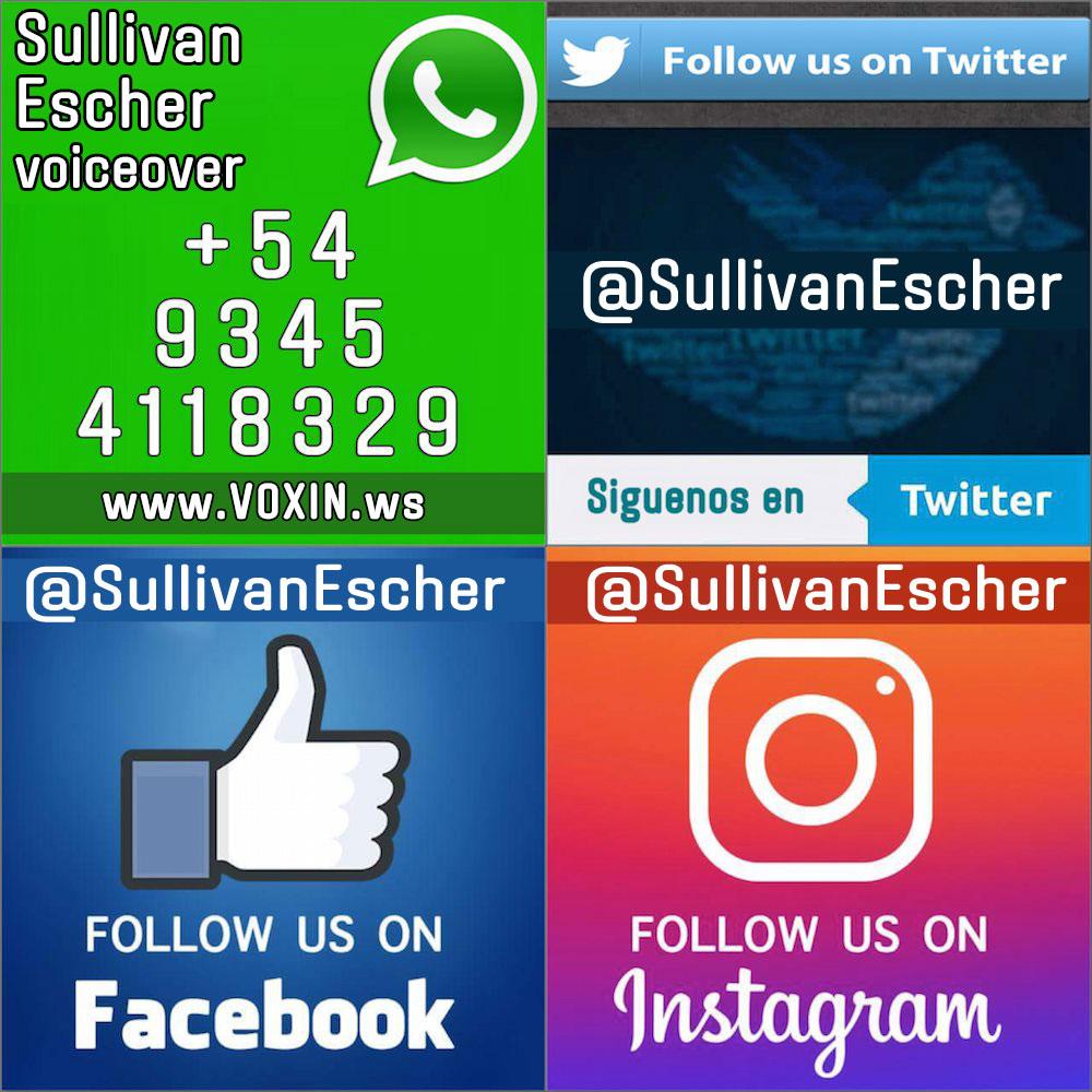 Voiceover + Locutor @SullivanEscher  #Locucion / #Grabacion / #DJ #Drop / #TV #Radio & #Comercial ✓ WhatsApp: +54 9345 4118329 pic.twitter.com/Ck10PT0Rx3