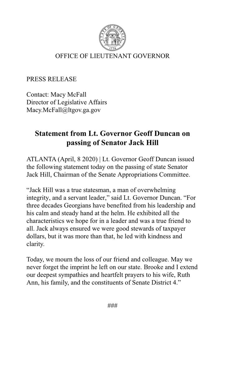 Announcement: Statement from Lt. Governor Duncan on passing of Senator Jack Hill