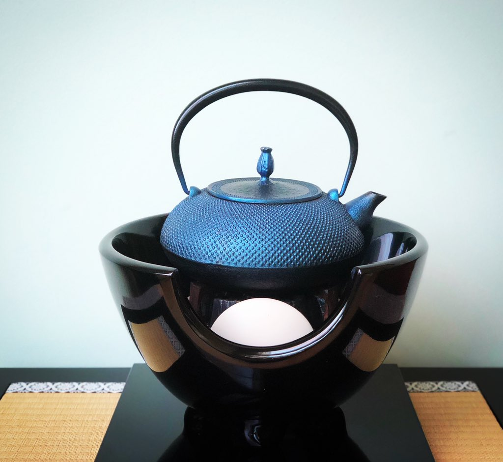 Nanbu #tetsubin from #Iwata, #Japan. We have been using this blue tetsubin for 4 years. We love this beautiful #cast #iron #kettle and the #water it produces for making a #perfect a cup of #tea. Our authentic true tetsubin collection is available #online. #madeinjapan #yycteapic.twitter.com/1Qkl1mmMkR