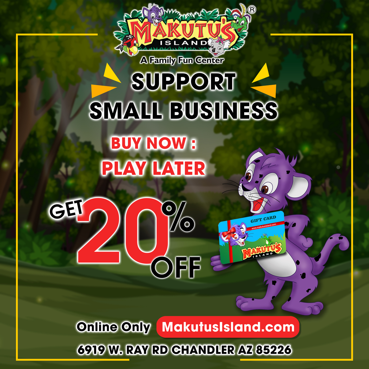 Support Local, Support Small Businesses Buy now - Play Later Get your gift cards at 20% off Online only - http://MakutusIsland.com Visit http://MakutusIsland.com #makutusisland #Funtasticpass #funcenter #kidsplay #celebrations #fun #stayhome #staysafe #giftcardspic.twitter.com/uG3mOZklOQ