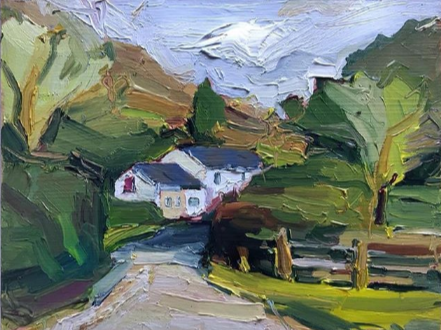 A little painting I did of Welsh farm cottages last year, using a palette of just three colours. I'm not sure I'm going to be able to travel to the UK this year, so glad I have this to remind me!  #australian #creative #inspiration #palette #painting #colourspic.twitter.com/rSKn4FBz0b