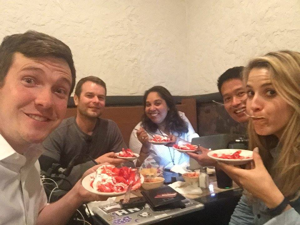 here we are eating strawberry pie in Indiana