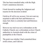 Image for the Tweet beginning: Statement from Cardinal Pell: