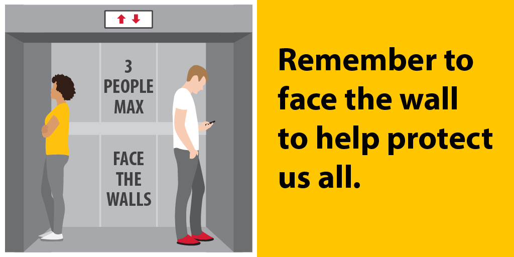 Facing the wall in an elevator might feel rude, but it's the right thing to do to help prevent the spread of COVID-19.   Also remember to limit the number of people to 3, avoid touching your face after touching the buttons & wash or sanitize your hands after leaving the elevator.